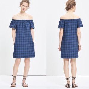 Madewell Off the Shoulder Blue Plaid Shift Dress